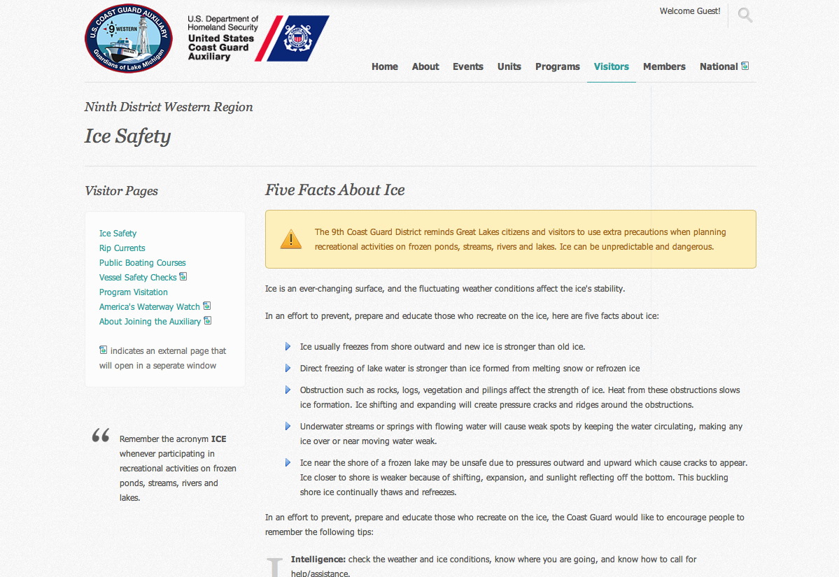 Ice Safety Web Page