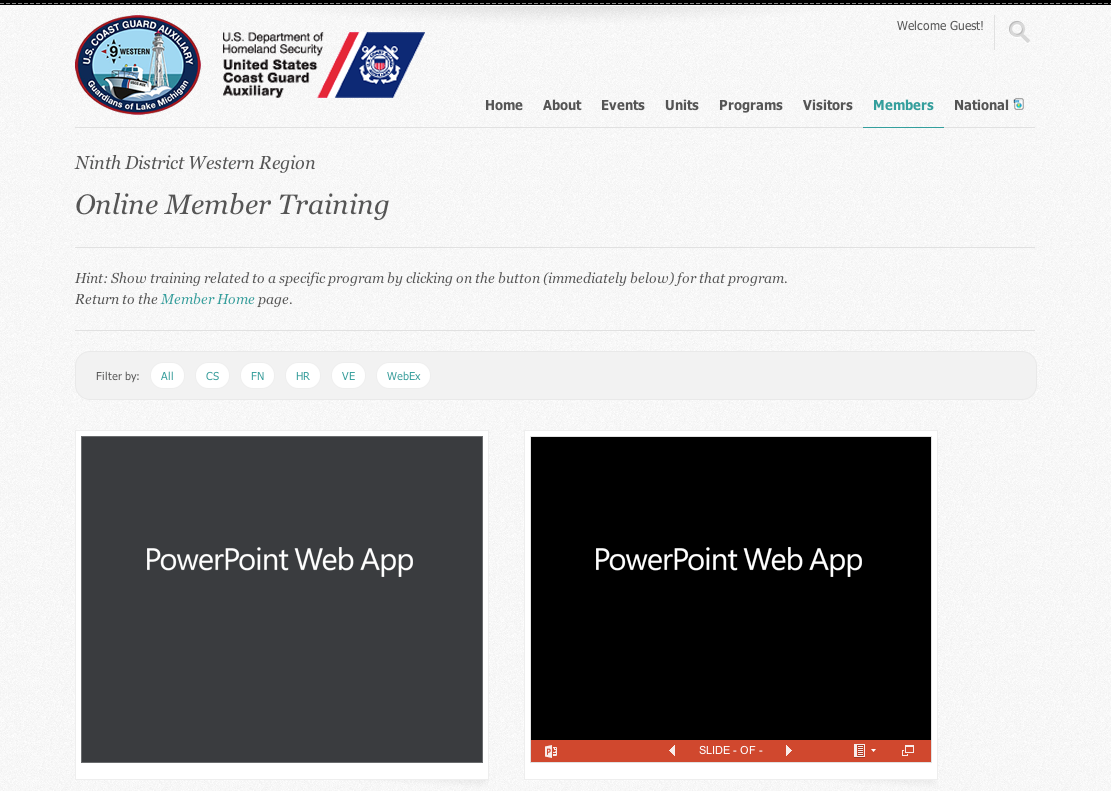 New Member Online Training Page